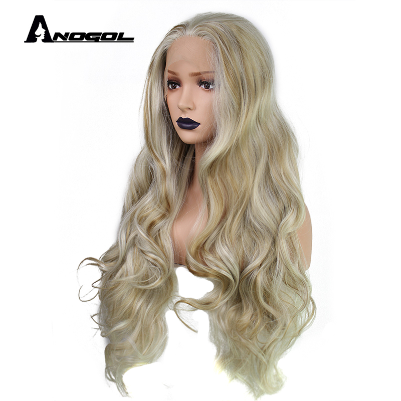 Anogol High Temperature Fiber 613 Frontal Ombre Blonde Hair Full Wigs Long Body Wave Synthetic Lace