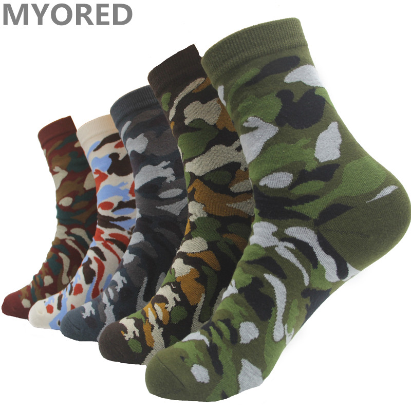MYORED Mens Green army socks Mans cotton Casual ankle Socks summer Camouflage for team party playing games 5 Pairs/Lot