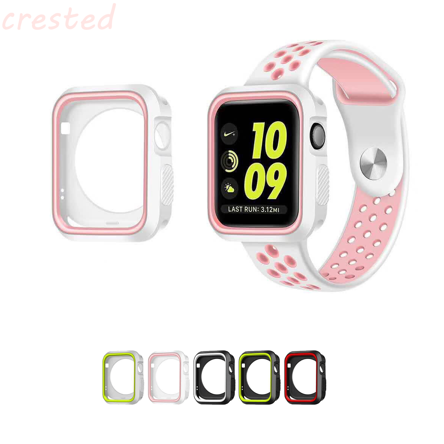 CRESTED silicone case for apple watch 42mm 38mm full protector case rubber case for iwatch 1/2 apple apple silicone case