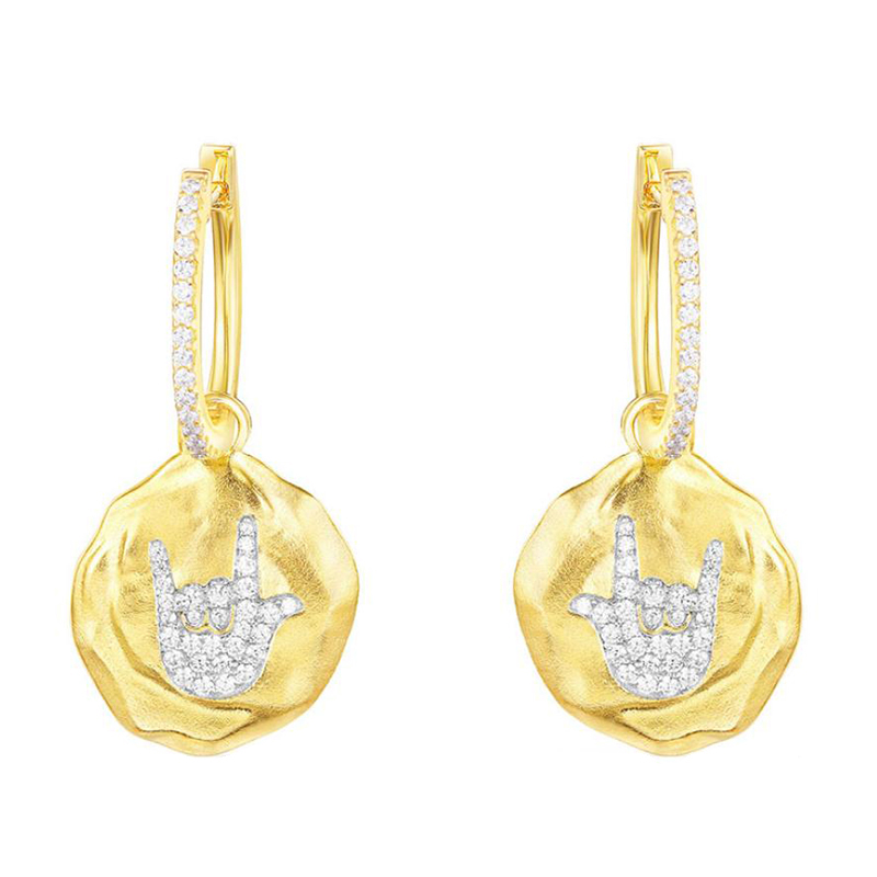 SLJELY Fashion 925 Sterling Silver Yellow Gold Color Round Disc Punk Rock Earrings Cubic Zirconia Stones