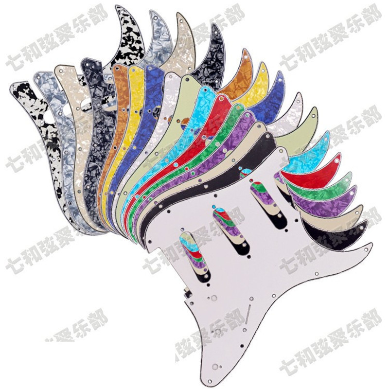 3 Ply 11 Holes Electric Guitar Pickguard Anti-Scratch Plate Multicolor for choose musiclily 3ply pvc outline pickguard for fenderstrat st guitar custom