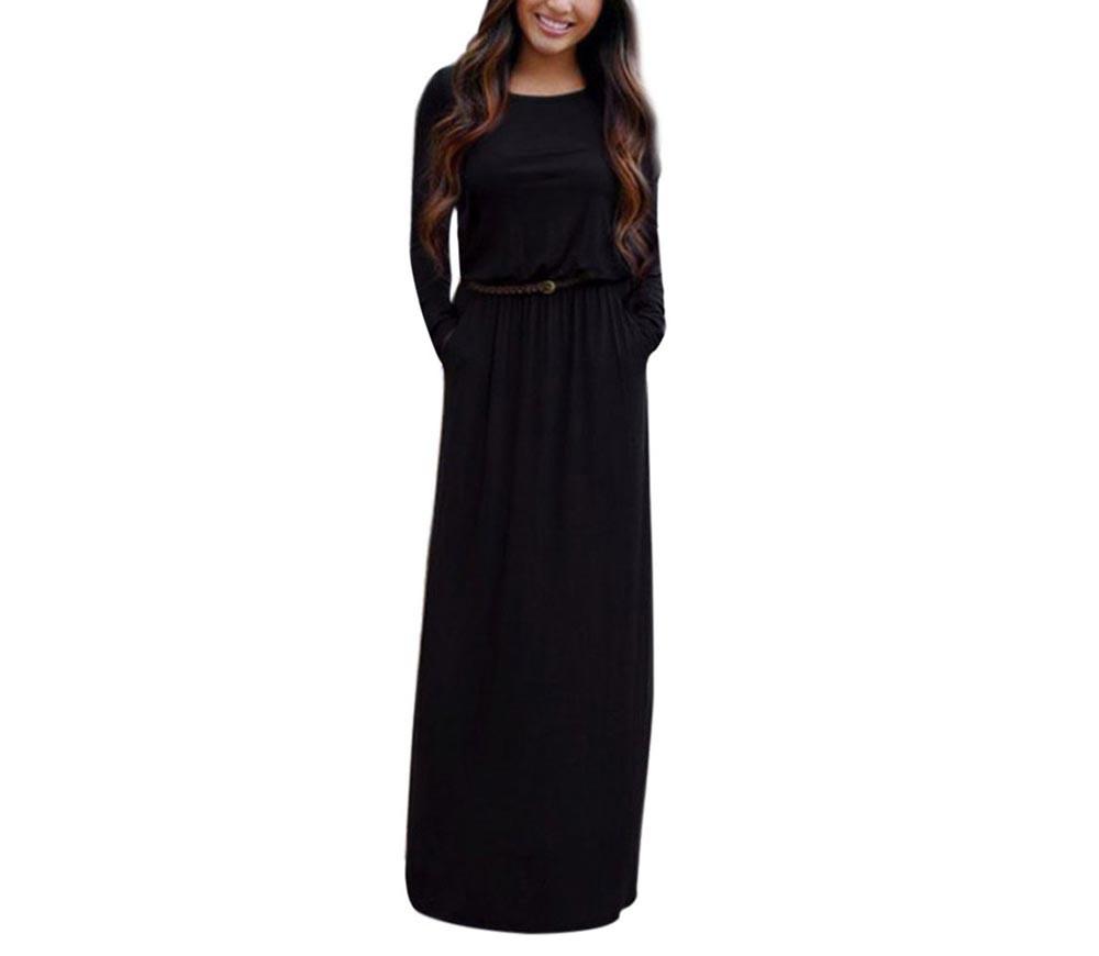 VESTLINDA Vintage Vestidos Longo Jurken Women Maxi Dress Full Sleeve Casual Dress Autumn A Line Solid Ropa Mujer Long Dress 9