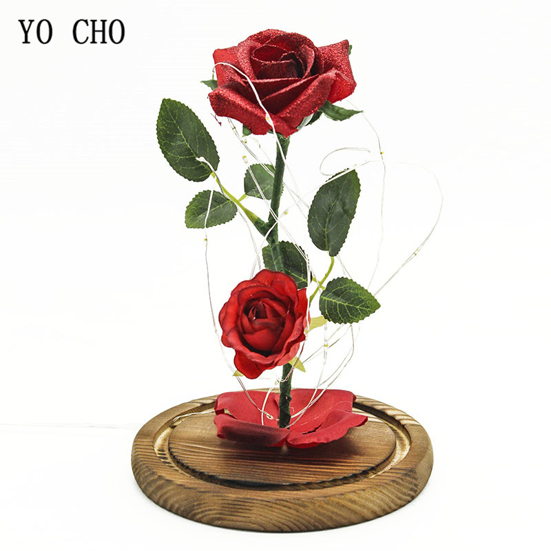Have An Inquiring Mind Artificial Rose Flowers Beauty Beast Romantic Simulation Rose Glass Cover Led Micro Landscape Fake Leaf Wedding Home Party Decor Goods Of Every Description Are Available Figurines & Miniatures