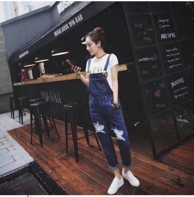 0ce80f3600 Online Shop Women Autumn Winter Stonewash Destroyed Denim Dungarees  Jumpsuit Ladies Overalls Casual Skinny Girls Jeans Pants Rompers H344