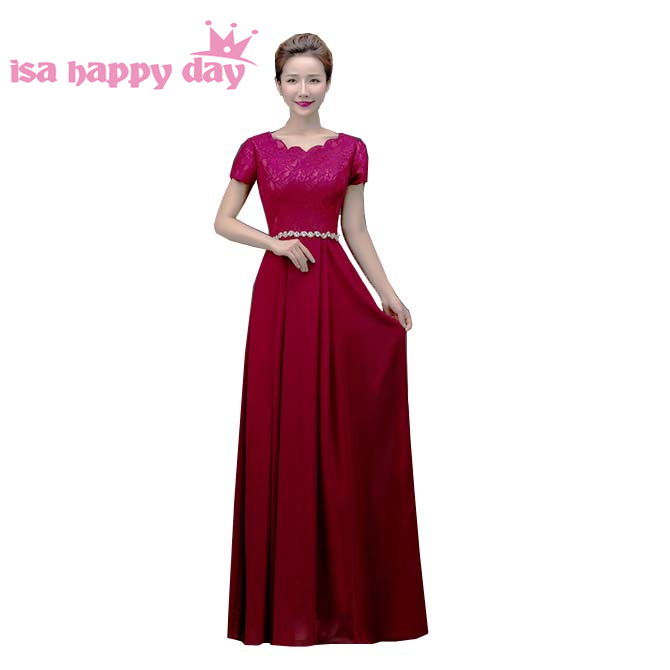 Ivory Dark Red Beaded Elegant Bridesmaid Gown New Arrival 2019 Plus Size Bridesmaids Party Occasion Dresses With Sleeve H3118