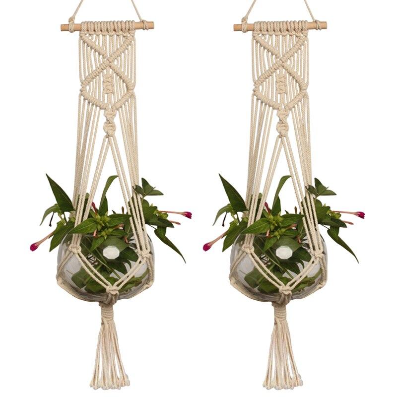 1pc Large-sized  Plant Hanger Basket  Handmade Rope Pots Holder Fine Hemp Rope Net Flower Pot Plant Lanyard