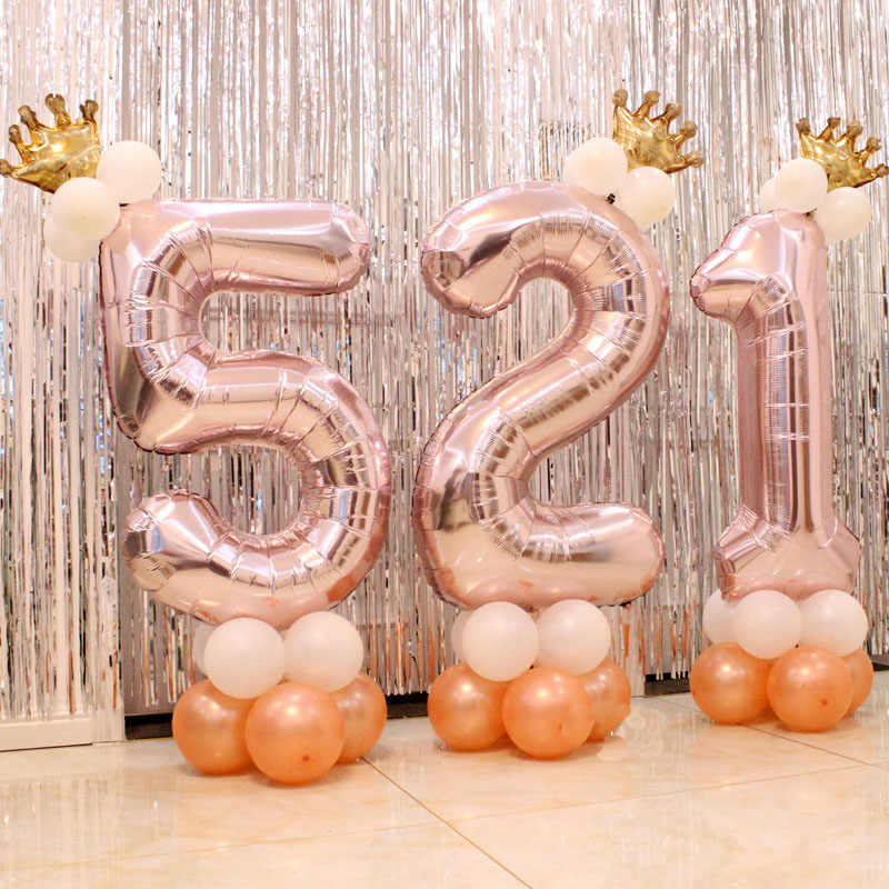 First Birthday Balloons Rose Gold Number One Foil Balloons 1 2 3 4 5 6 7 8 9 Years Happy Birthday Party Decorations Kids ballon