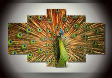 5 panel framed painting Modern Home Decor wall art picture for living room Peacock canvas Print painting printed on canvas F0180