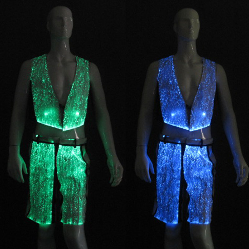 Men clothing Fiber Optic fabric led Luminous pants YQ-40RGB
