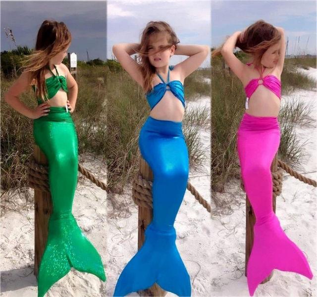 fcf8afcca7c79 3 Pz Ragazze Bambine Coda Di Sirena Nuotabile ensemble Bikini Costumi Da  Bagno Nuoto 3 pièces