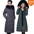 Зимняя куртка женщин 2015 зимнее пальто x-долго Большой размер 5XL долго парка роскошный меховой хлопок-ватник вниз пальто женщин ватные куртки