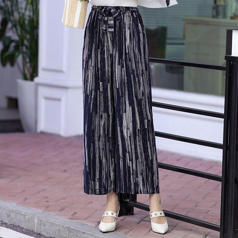 Split striped lady wide leg pants women Summer beach high waist trousers Chic streetwear sash casual pants capris female
