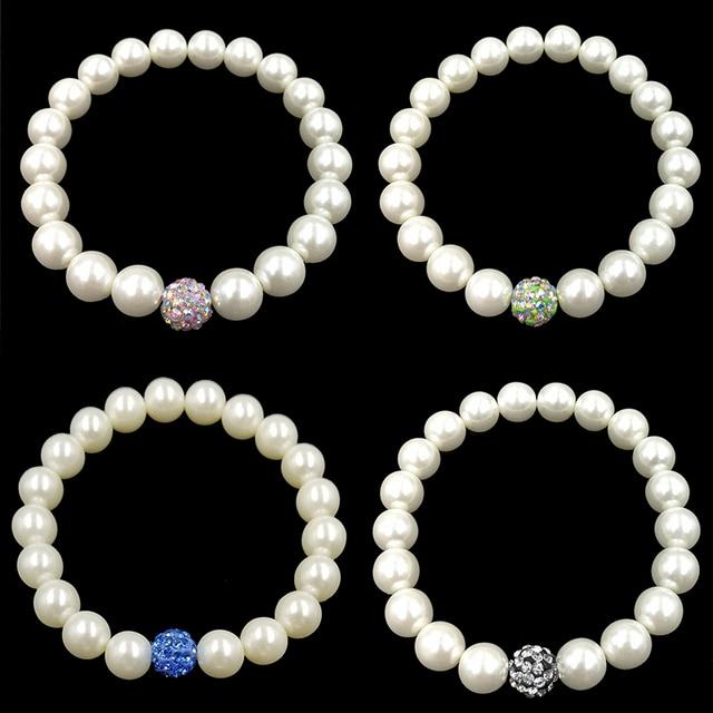 1 PZ Vendita Trendy Delicato Bianco Olivet Elastico Imitazione Perle Charming Va