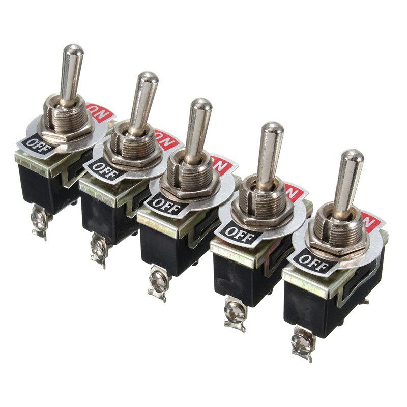 5Pcs x SPST 2Pin Heavy Duty 15A 250V ON/OFF Rocker Toggle Switch Waterproof Boot Lowest Price 5 x on off small toggle switch miniature spst 6mm ac250v 3a 120v 5a