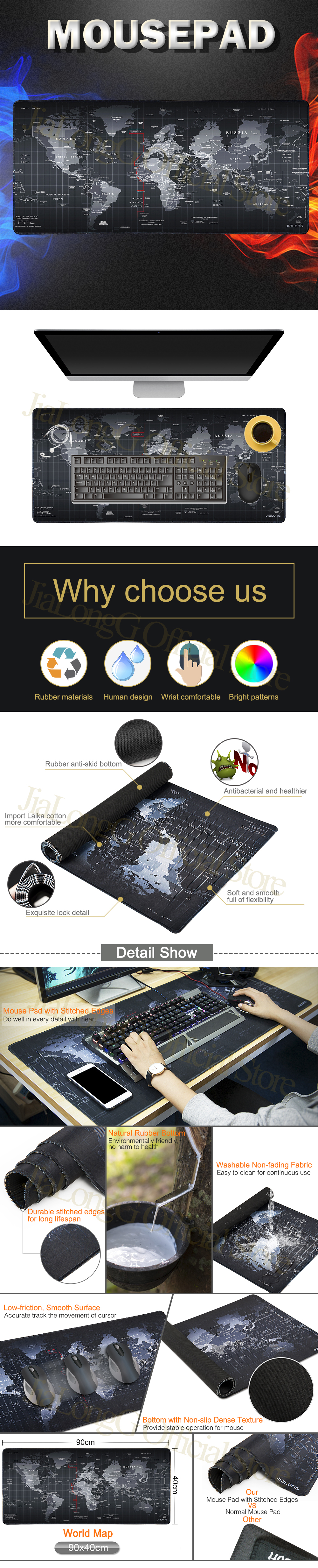 JIALONG World Map Pattern Gaming Mouse Pad Large Computer Mause Pad Notebook Gamer Mousepad Gaming Mouse Mats for Men Gamer Gift 1