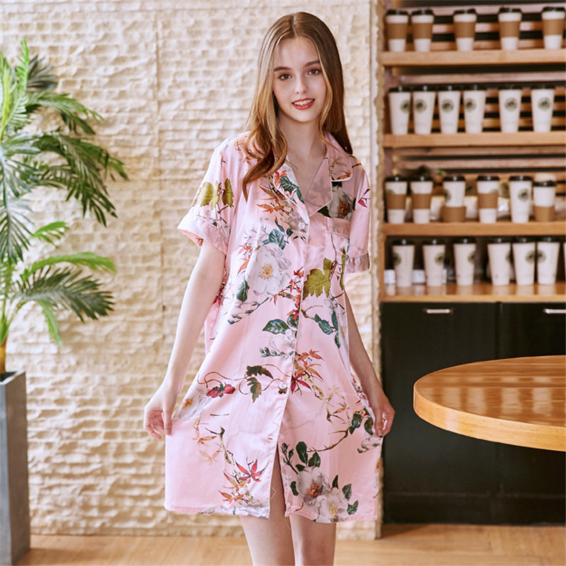 Women Nightwear V Neck Short Sleeve Satin Sleepwear Floral Pijama Silk Home Wear Nightdress   Nightgowns   &   Sleepshirts   AD453