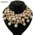 Hot Items Fashion Multilayer Chain Imitation Pearl Necklace Rhinestones Bib Statement Maxi Necklaces Choker Women Gife Jewelry