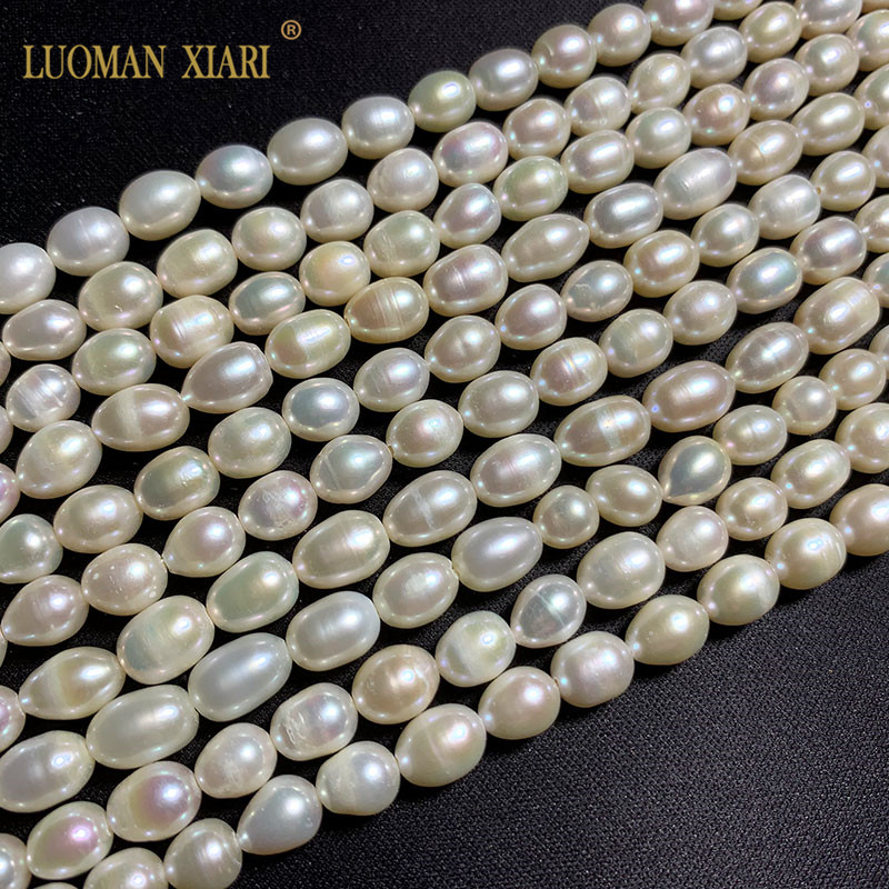 Wholesale AAA 100% Natural Rice Shape Freshwater Pearl Beads For Jewelry Making DIY  Bracelet Necklace Strand  14''
