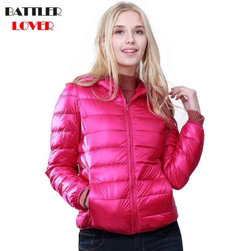 חורף נשים קל במיוחד למטה מעיל 90% ברווז למטה מעילים עם ברדס ארוך שרוול חם Slim אשת Parka נקבה Portabl להאריך ימים יותר