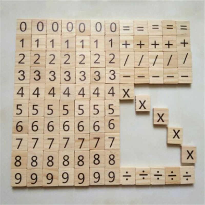 100Pcs Houten Digitale Legpuzzels Vroege Educatief Speelgoed Voor Kinderen Zwart Symbool en Nummers Scrabble Tegels Puzzel Game