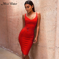 Miss Water Newest Bandage Dress Women Celebrity Party Sexy Night Out Strapless Elegant Solid Dress Women Bodycon Vestidos Wholes