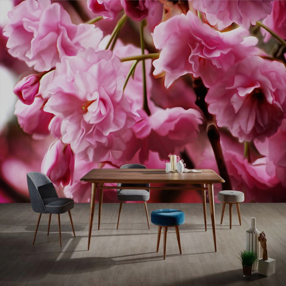 Free Shipping Custom Mural 3d Beautiful Romantic Pink Cherry Blossom