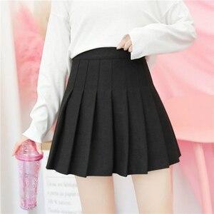Image 4 - חדש גבוהה מותן קו קפלים חצאיות Harajuku לוליטה אפור לבן שחור אונליין סיילור חצאית קוספליי יפני בית ספר חצאיות אחיד