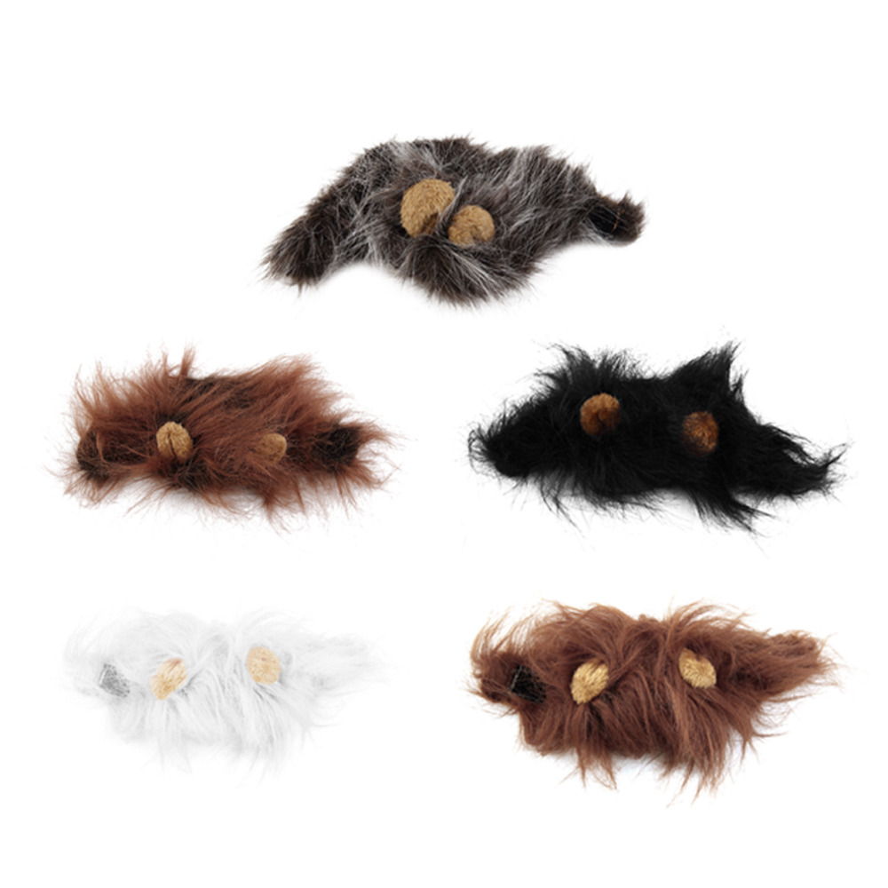Pet Cat Dog Emulation Lion Hair Mane Ears Head Cap Autumn Winter Dress Up Costume Muffler Scarf #2