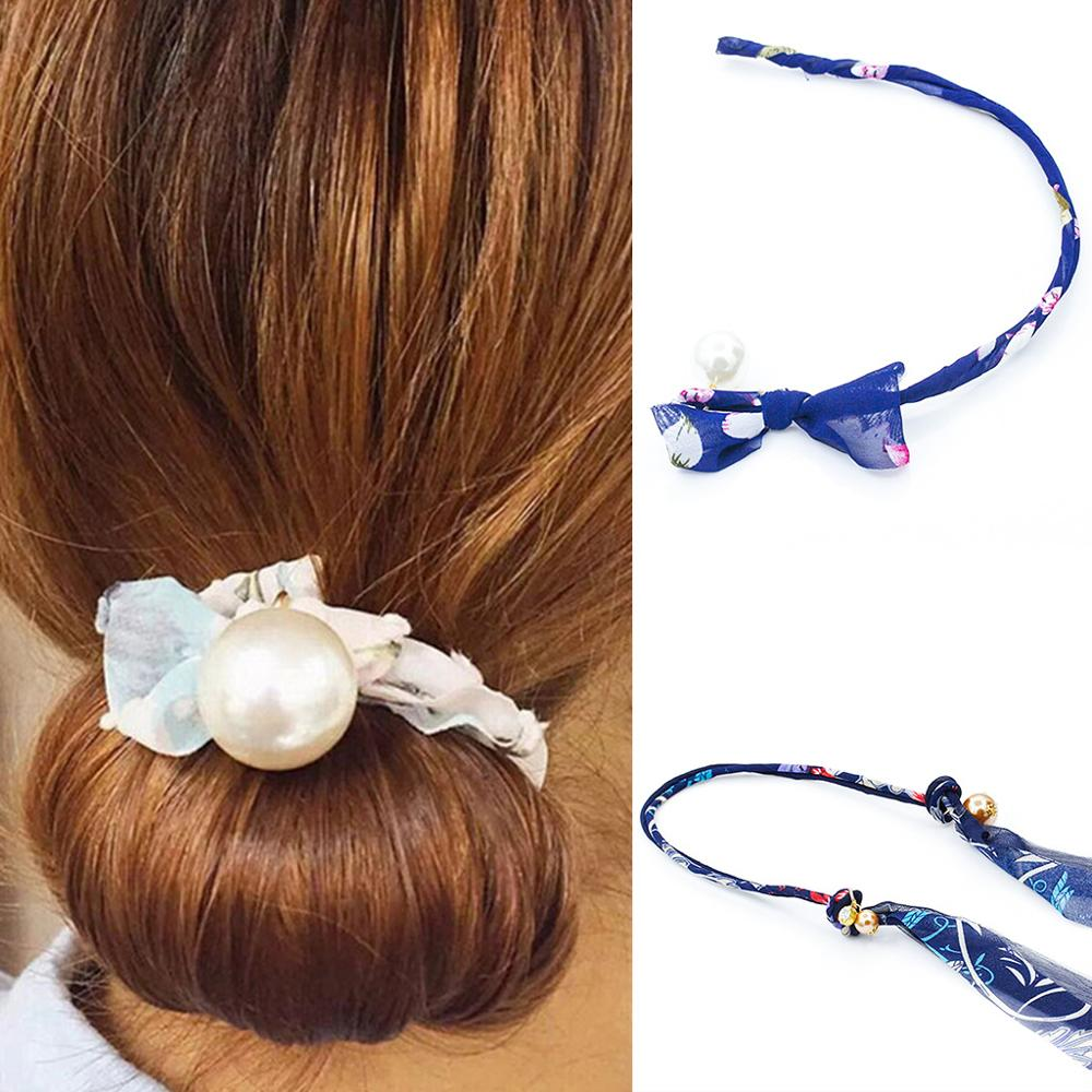 1PCS Women Bow Donut Bun Maker Fashion Big Pearls Ribbon Korean Design DIY Hair Style Tool Curler Accessories Floral
