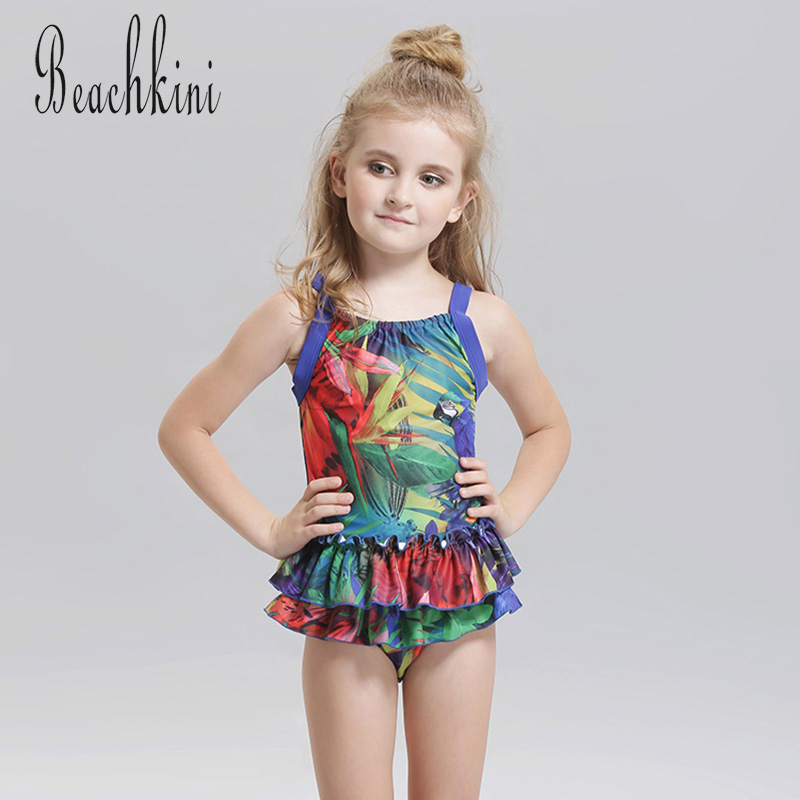 Girls One Piece Swimwear New Flounce Straps Swimsuit Cute Lace-Trim Bathing Suit Quick Dry Backless Kids Beach Wear one piece swimsuit cheap sexy bathing suits may beach girls plus size swimwear 2017 new korean shiny lace halter badpakken