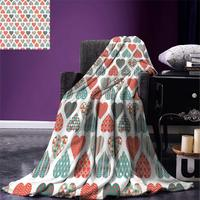 Blanket Retro Up and Down Hearts with Stripes Waves and Checkered Patterns Love Warm Microfiber Blanket