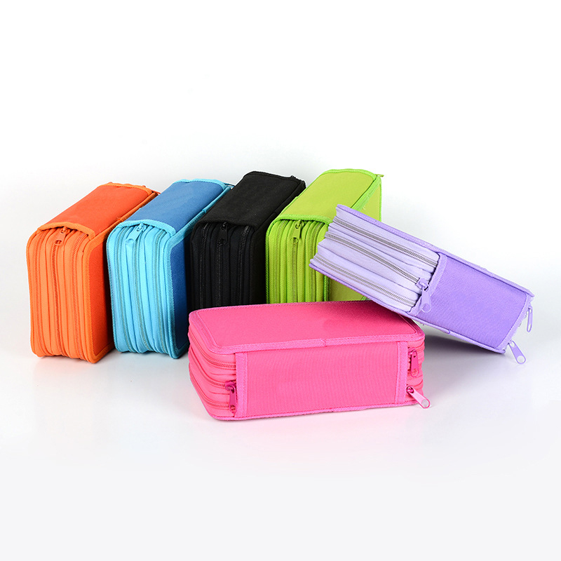 72 Holders 4 Layer Portable Oxford Canvas School Pencils Case Pouch Brush Pockets Bag Pencil Holder Case School Supplies olike 72 holder pencils case canvas 4 layer portable large capacity pencil bag for school