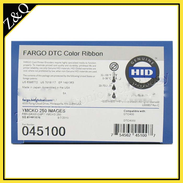 HID Fargo 45100 YMCKO color ribbon for DTC4000 id pvc plastic card printer,250 Prints Every Piece zebra 800015 940 pvc card printer color ribbon for p110i p120i card printer 200 prints