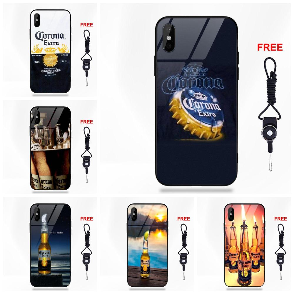 2df6fc2de4 Silicone TPU Frame Tempered Glass Cover Cases For Apple iPhone X XS Max XR  5 5C 5S SE 6 6S 7 8 Plus Gold Corona Extra Beer