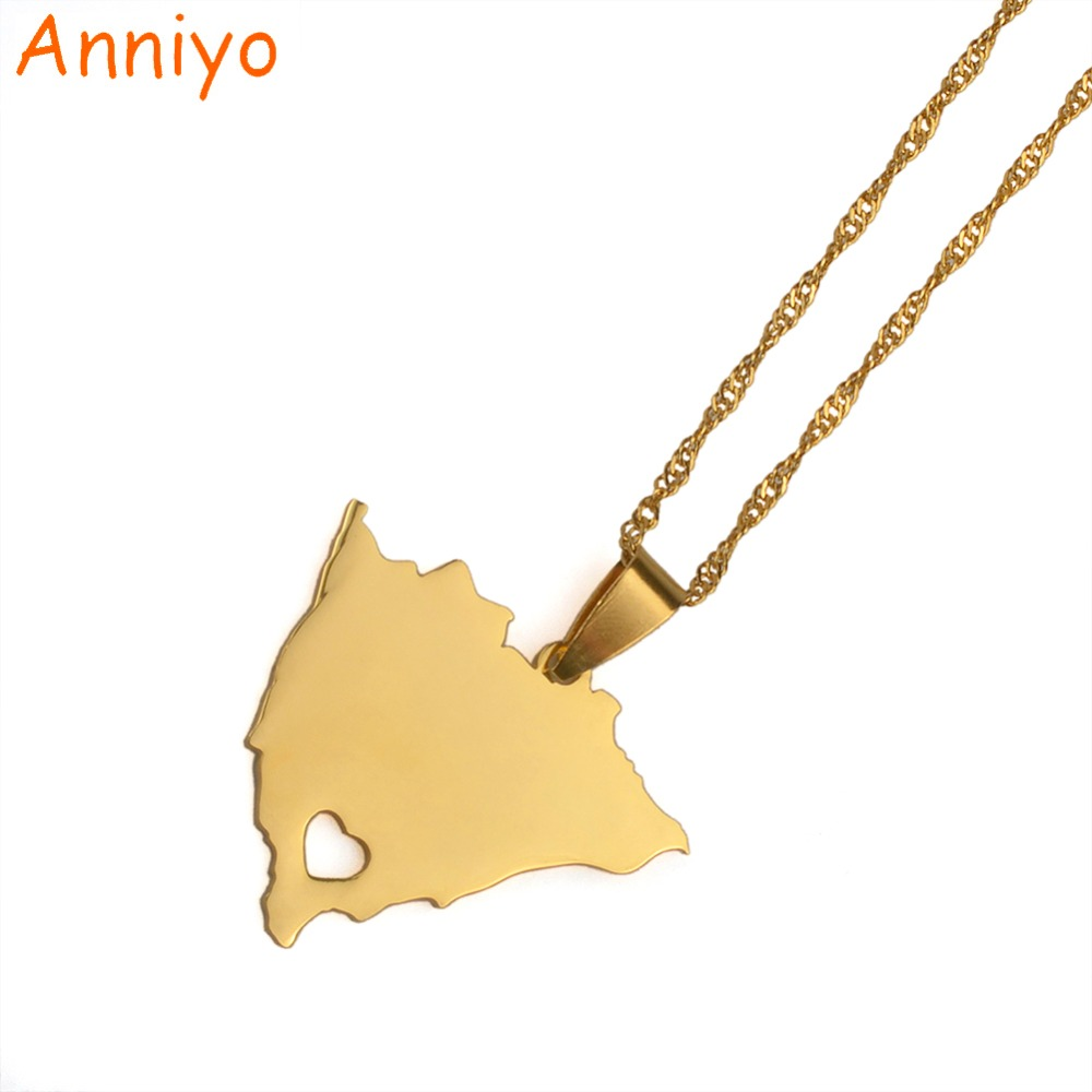Anniyoc Nicaragua Map Pendant & Necklaces for Women Gold Color Charm Nicaraguans Maps Jewelry Patriotic Gifts #018221