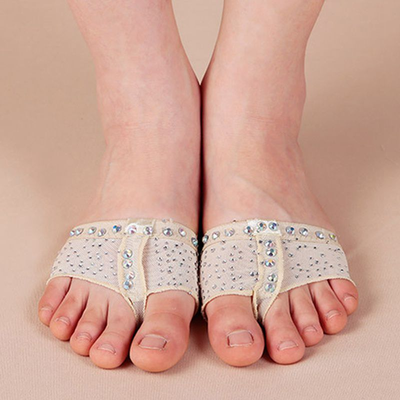 1 Pair Belly Ballet Dance Bright Drilling Toe Pad Practice Shoe Foot Thong Care Tool Half Sole Gym Sock Sport Insole