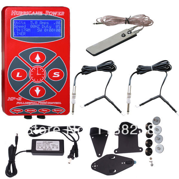 New Red Hurricane Tattoo Power Supply Professional Digital LCD Tattoo Power Supply&2 Clip Cord & Foot Pedal Free Shipping professional round red color 1 8 meters stainless steel tattoo foot pedal switch equipment supply tattoo clipcord dz 04r