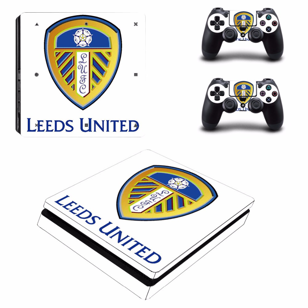 Leeds united ps4 slim skin sticker decal vinyl for playstation 4 slim and 2 controllers ps4 skin sticker