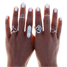 Boho 6pc Silver Stack Plain Above Knuckle Ring Crystal Midi Finger Tip Rings Set