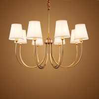 Modern Full Bronze Copper Chandelier for Bedroom Kitchen Living Room Fabric Lampshade Hanging Home Lighting BLC006