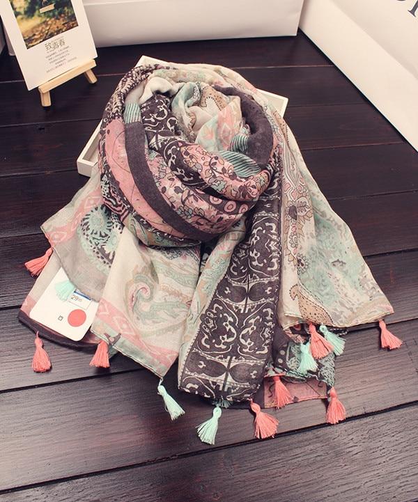 Der Schal der Frauen 100% Baumwolle und Leinen, der Schal der Art - Bekleidungszubehör - Foto 2