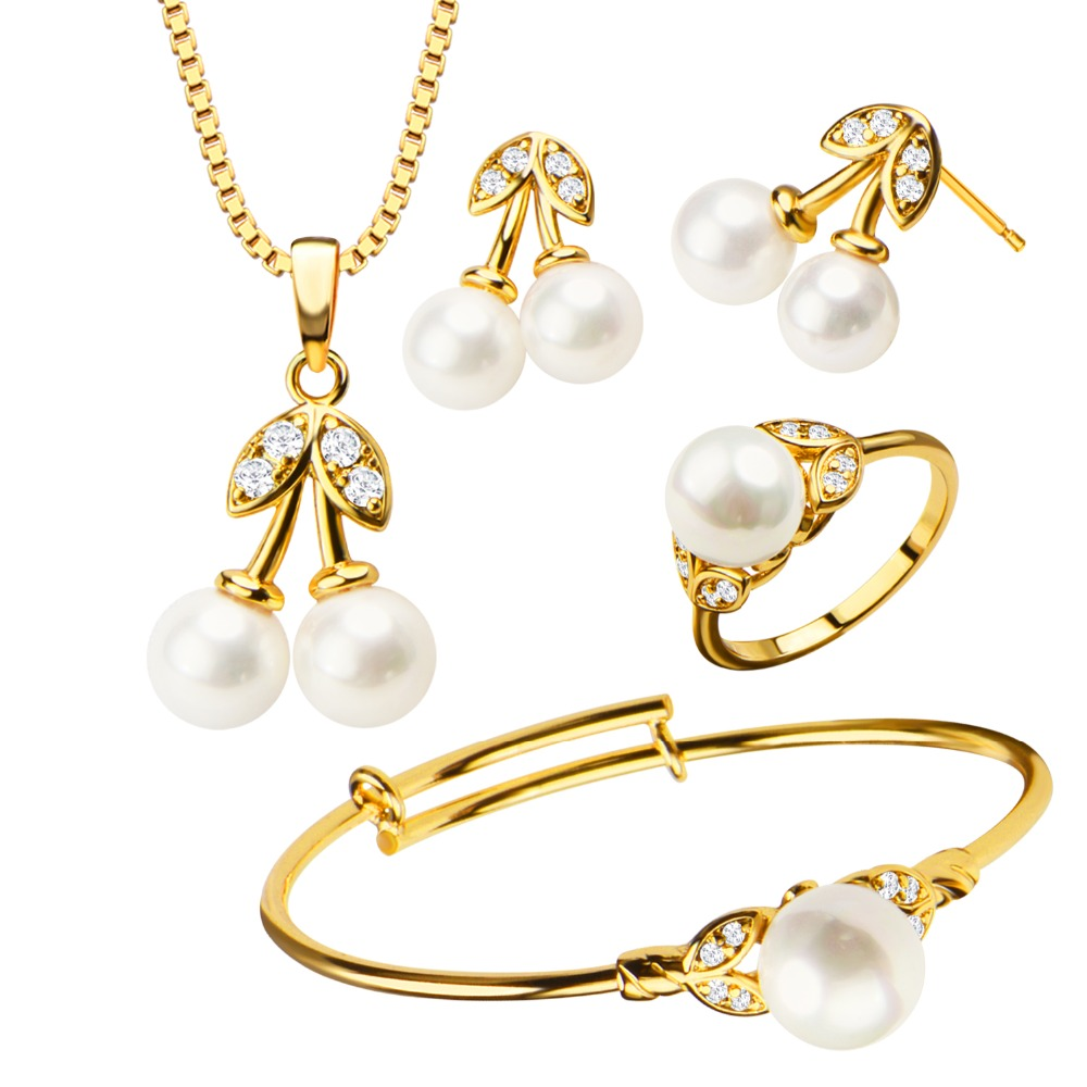 Luxury Pearl Crystal Necklace/Earrings/Bangle/Ring Trendy Gold ...