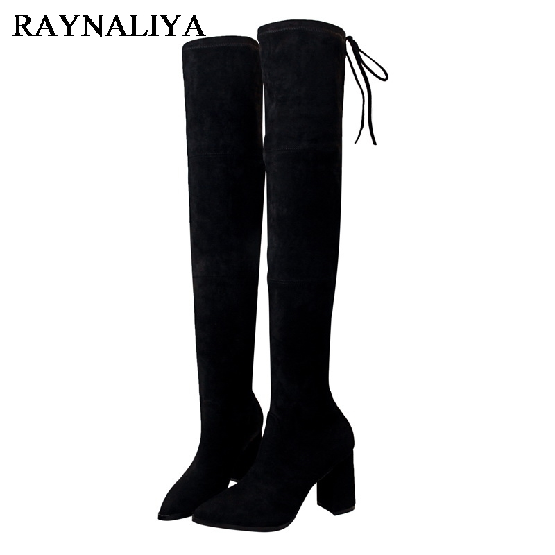 High Boots Woman Flock Knee High Boots Fashion Stretch Boots Pointed Toe Thick Heel High Heels Shoes Blue Patchwork BT-A0080 wholesale lttl new spring summer high heels shoes stiletto heel flock pointed toe sandals fashion ankle straps women party shoes