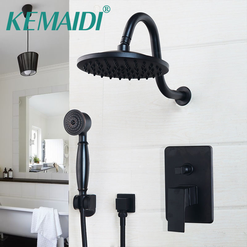 KEMAIDI Bathroom Rainfall shower faucet 8/10/12 Inch Black Round Head Wall Mounted Oil Rubbed Bronze head & Hand Shower Sets black oil rubbed bronze 8 inch round rainfall rain bathroom shower head new wsh003
