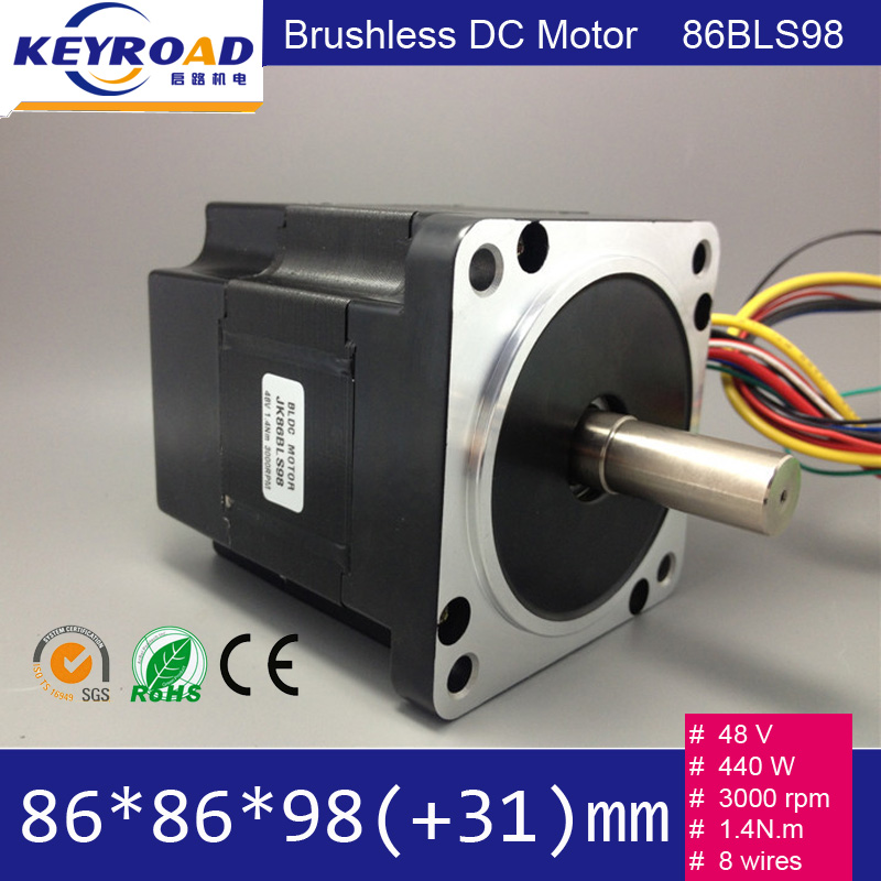 48v 440w 3000rpm 86mm bldc motor 86bls98 nema34 for Brushless dc motor cost