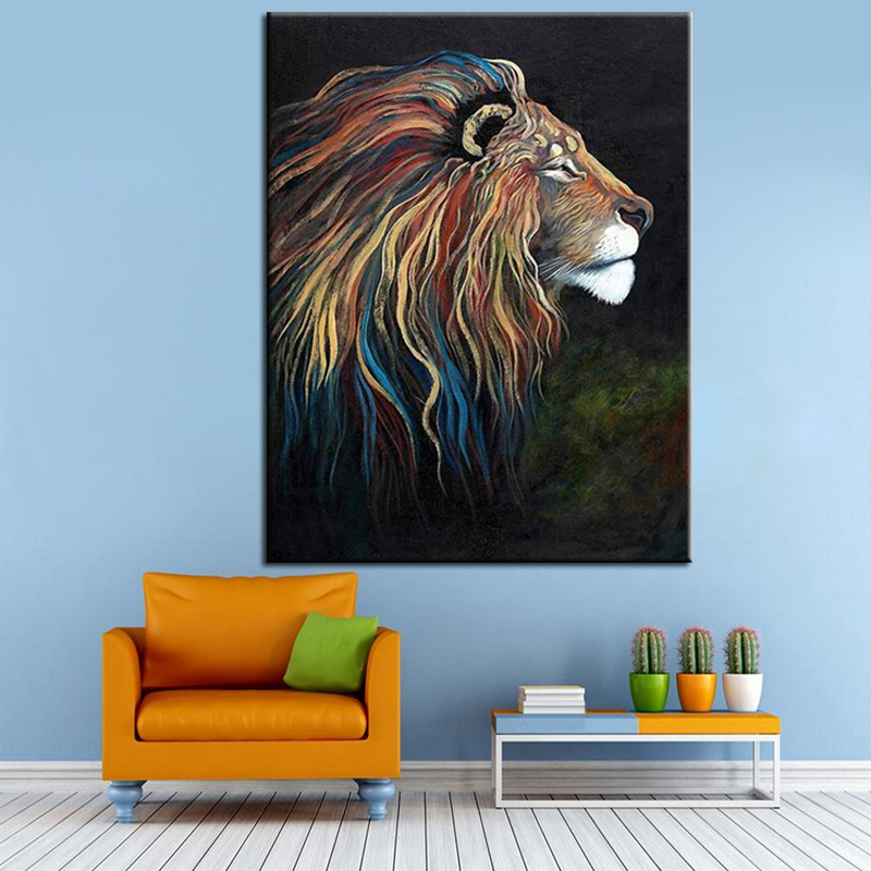 Hand Painted Acrylic Painting on Canvas Colorful Lion Canvas Oil Paintings Modern Abstract Animal Wall Art Kid's Room Decoration