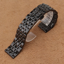 New Fashion Metal Watchband Bracelet Black Silver Polished Watch band strap 14mm 16mm 18mm 20mm 22mm Good Quality buckle