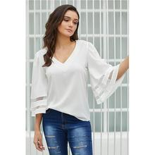 Yfashion Summer Women Fashion Loose V-neck Mesh Splice Three Quarter Bat Sleeve Tops