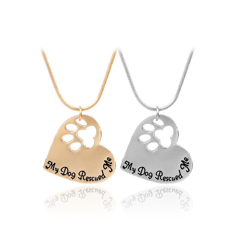 """My Dog Rescued Me"" Hollow Pet Footprint Necklaces Gold/Silver Chain Heart Pendant Cat Puppy Memento 2017 Pet Lover Necklaces"