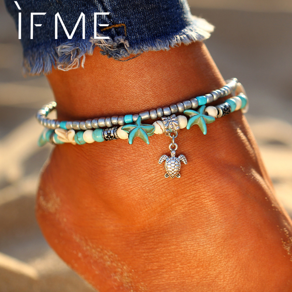 IF ME Bohemian Multiple Layers Starfish Turtle Beads Anklets For Women Vintage Boho Shell Chain Anklet Bracelet Beach Jewelry  delicate turquoise beads spiral charm anklet for women